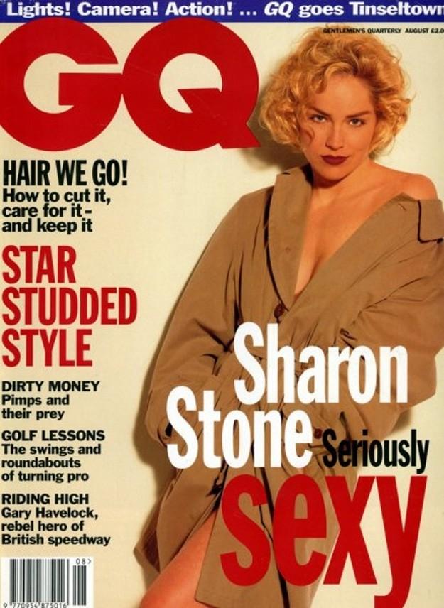 Шарън Стоун на корицата на италианското издание на GQ през 1993г.