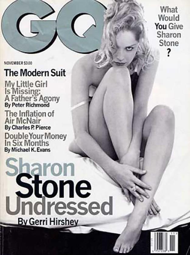 Шарън Стоун на корицата на италианското издание на GQ през 1995г.