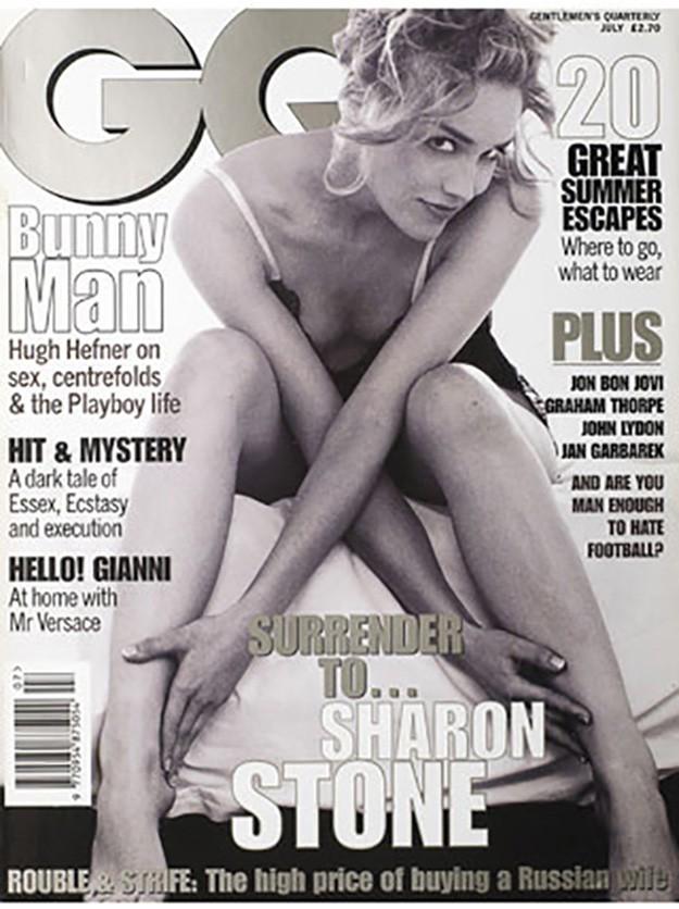 Шарън Стоун на корицата на италианското издание на GQ през 1996г.