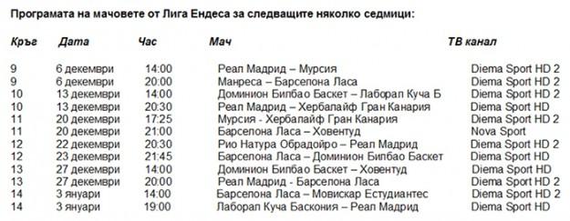 Програмата на мачовете от Лига Ендеса за следващите няколко седмици